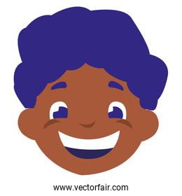 cute black boy head character