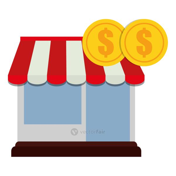 store facade building with coins money