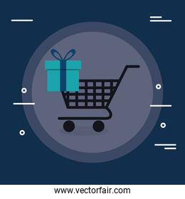 shopping cart with gift box