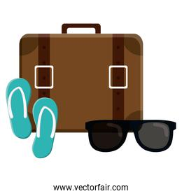 suitcase travel vacations with sunglasses and sandals