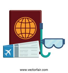 passport file with tickets flight and snorkel