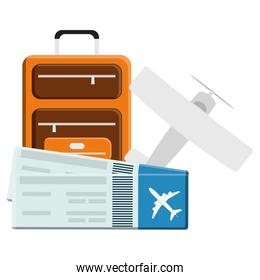 suitcase travel vacations with airplane and tickets