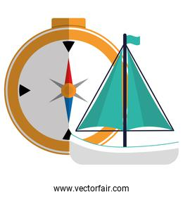 compass travel guide with sailboat