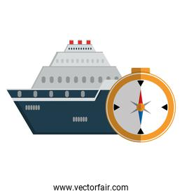 compass travel guide with cruise ship
