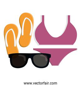 female swimsuit with flip flops and sunglasses