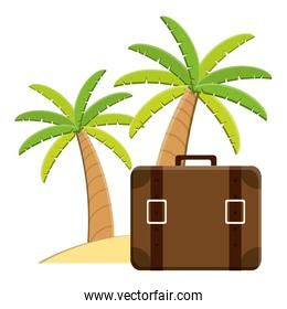 suitcase travel with trees palms