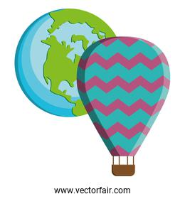 world planet earth with balloon air hot