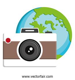 camera photographic with world planet earth