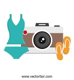female swimsuit with flip flops and camera photographic