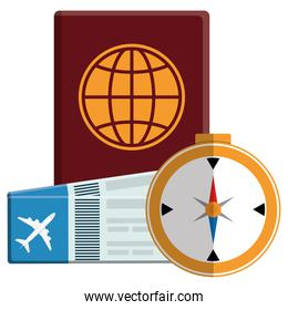 passport document with tickets flight and compass