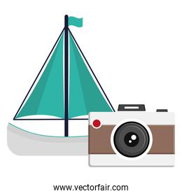 camera photographic with sailboat