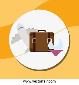 suitcase travel vacations with swimsuit and airplane