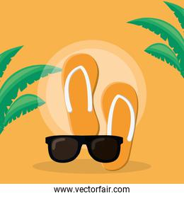 flip flops and sunglasses vacations icons