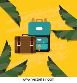 suitcases travel vacations icons