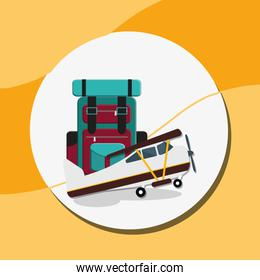 suitcase travel with airplane flying
