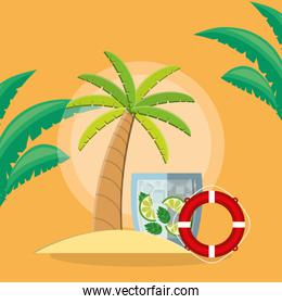trees palms beach scene with lemonade cocktail and float