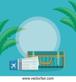 suitcase travel with tickets flight