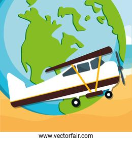 world planet earth with small plane
