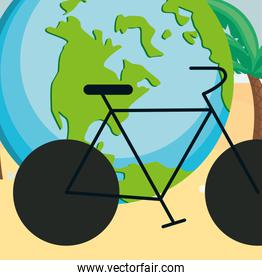 world planet earth with bicycle