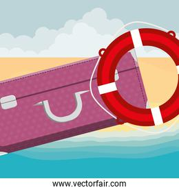 suitcase travel with float lifeguard