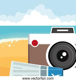 camera photographic with flight tickets