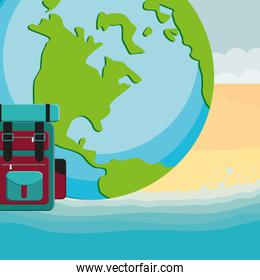 suitcase travel with world planet
