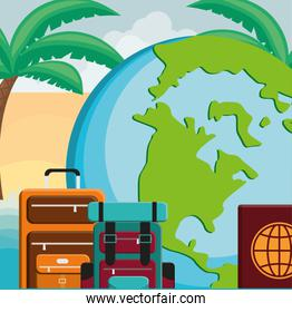 suitcase travel with world planet and passport