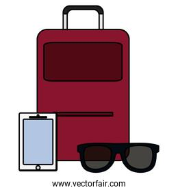 suitcase travel with smartphone and sunglasses