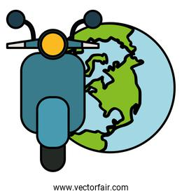 world planet earth with motorcycle