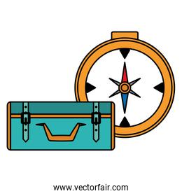 suitcase travel with compass guide