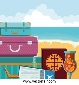 suitcases travel vacations with passport and tickets