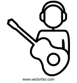 human figure with guitar instrument