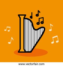 harp musical instrument with notes