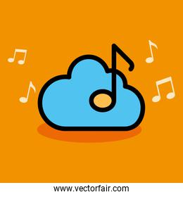music note with cloud computing