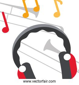 earphones audio with music notes