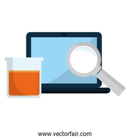 laboratory tubes test with laptop and magnifying glass