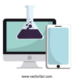 laboratory tubes tests with desktop and smartphone