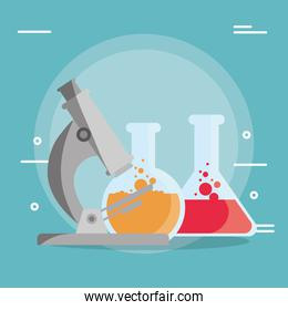 laboratory tubes tests and microscope