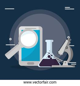 tube test and magnifying glass with microscope ,smartphone