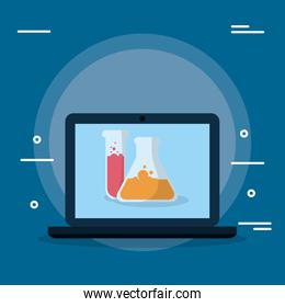 laboratory tubes test with laptop