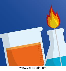 laboratory flask fire and tube test