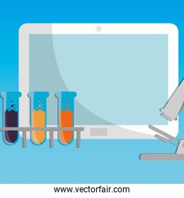 laboratory tubes test with tablet and microscope