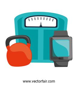 scale balance with smartwatch and dumbbell