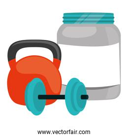 proteins pot plastic product with dumbbell