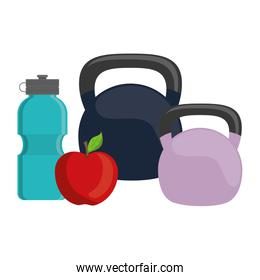 gym water bottle with apple and dumbbells
