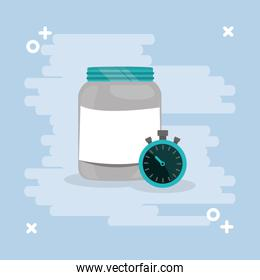 proteins pot plastic product with chronometer