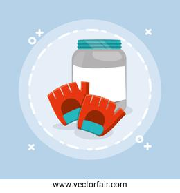 proteins pot plastic product with sport gloves