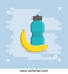 gym water bottle and banana
