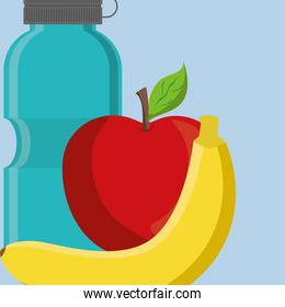 gym water bottle with apple and banana