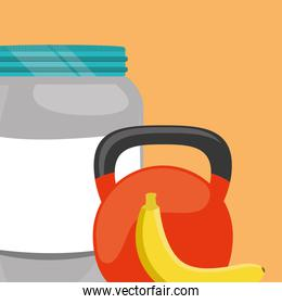 proteins pot plastic product with dumbbell and banana